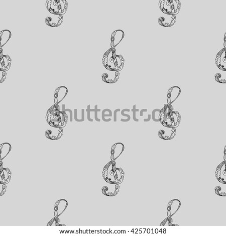 Treble clef black and white seamless background pattern. Hand drawn vector stock illustration - stock vector