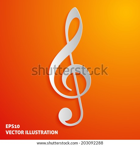 Treble clef icon on orange background. Vector illustration - stock vector