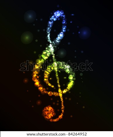 Treble clef in dark made from color lights - stock vector
