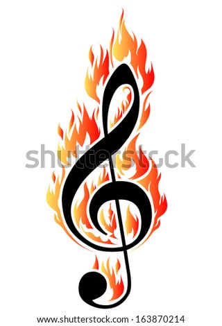 Treble clef in fire. Vector illustration for design or tattoo. - stock vector