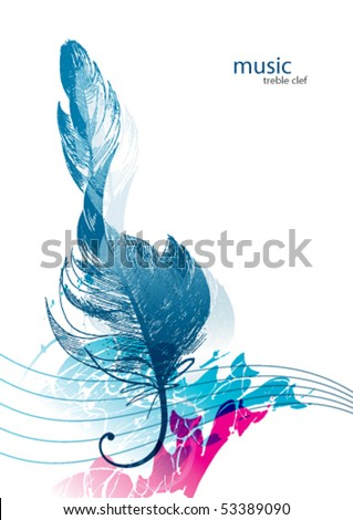 Treble clef in the form of the bird's feather. - stock vector
