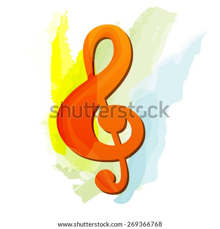 Treble clef in water colors - stock vector