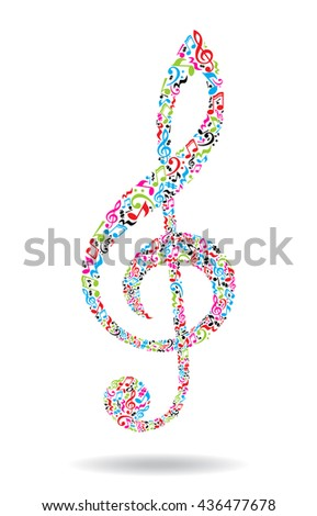 Treble clef made of musical notes on white background. Colorful notes pattern. G clef shape. Poster and decoration idea. - stock vector