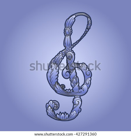 Treble clef with plant ornament. Hand drawn vector stock illustration - stock vector