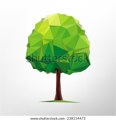 Tree abstract isolated on a white background  (illustration of a many triangles)