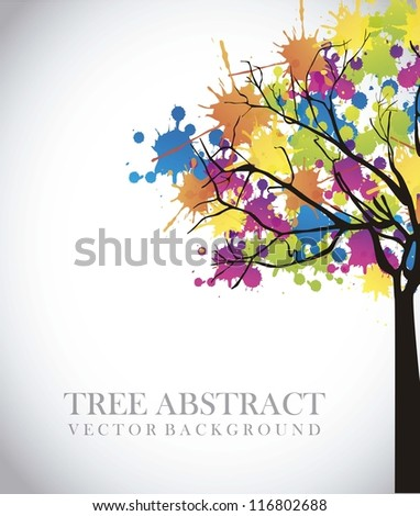 tree abstract over gray  background. vector illustration - stock vector