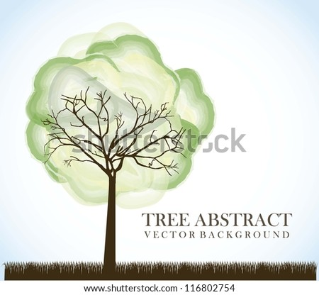 tree abstract over silhouette grass background. vector illustration