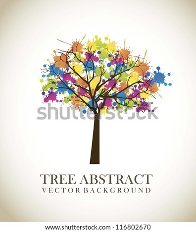 tree abstract over vintage background. vector illustration - stock vector