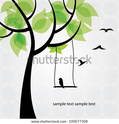 Tree and birds stylized - stock vector