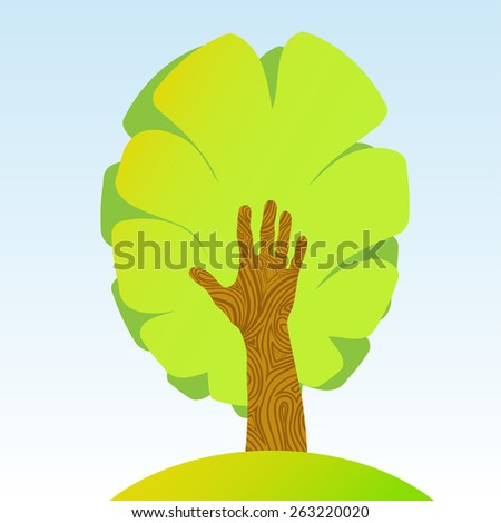 tree and black hand, conceptual sign - stock vector