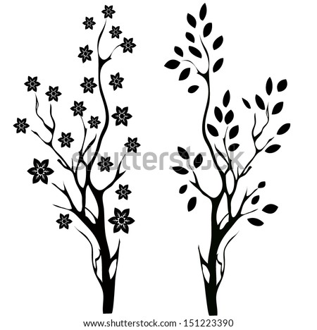 Tree and branch Silhouettes - stock vector