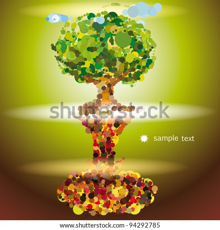 Tree and explosion - stock vector