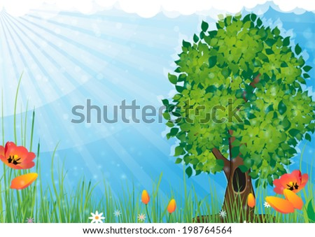 Tree and flowers in the meadow. Summer  landscape nature. - stock vector
