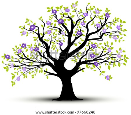 tree and green leaves silhouette over white background with lot of pink flowers, shadow at the root