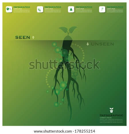 Tree And Root Infographic Science Background Design Template - stock vector