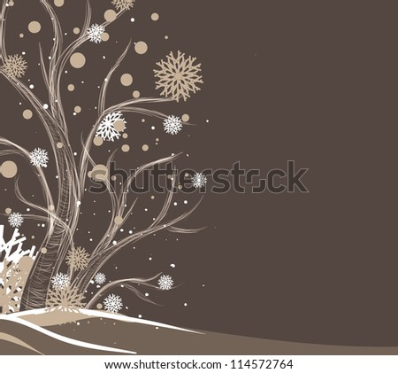 Tree and snowflakes - stock vector