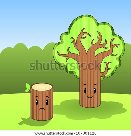 Tree and stump - stock vector