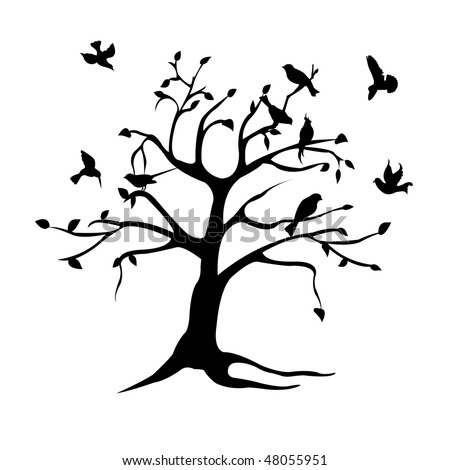 tree, bird silhouette - stock vector