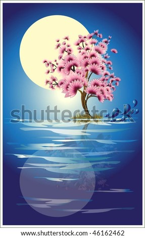 Tree blossom under full moon