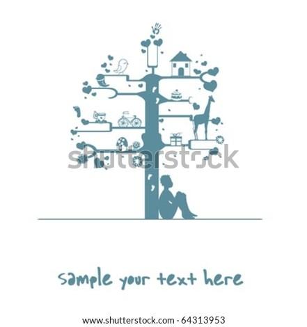 tree-Boy - stock vector