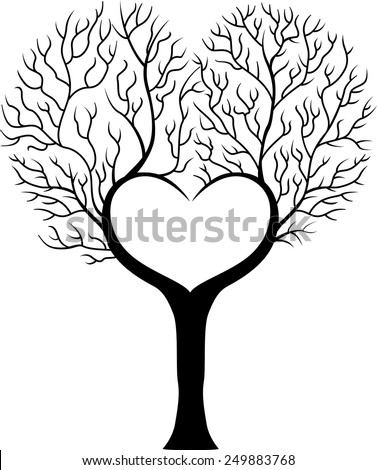 Tree branch in shape of heart - stock vector