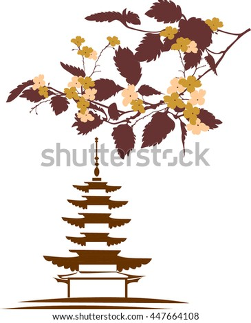 tree branch with pagoda - stock vector