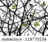 Tree branches silhouette - stock vector