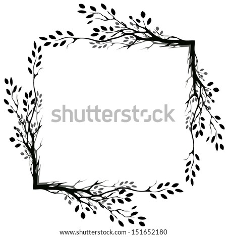 tree branches silhouette isolated over white background  - stock vector