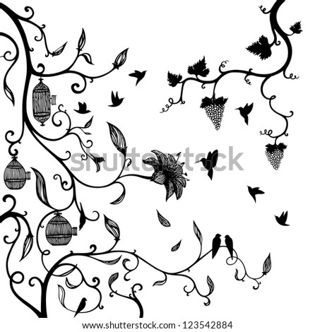 Tree branches with flowers and small bird - stock vector