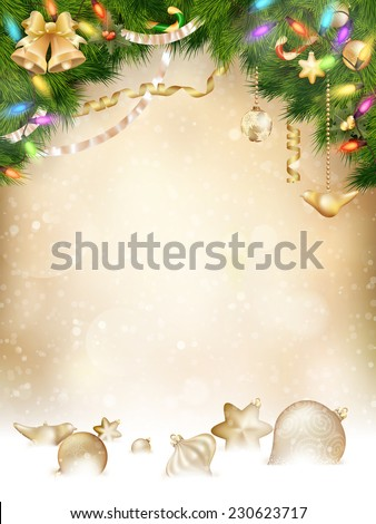 Tree branches with golden baubles, vertical banner. EPS 10 vector file included