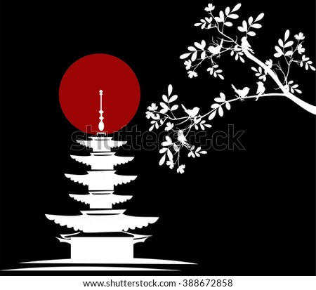 tree branches with pagoda background - stock vector
