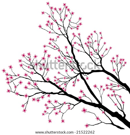 Tree Branches with Pink Flowers - stock vector