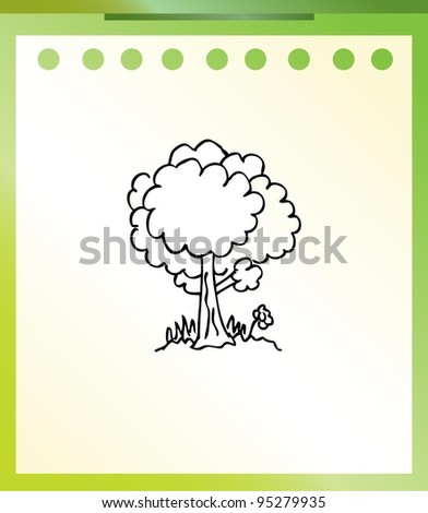 tree cartoon doodle - stock vector