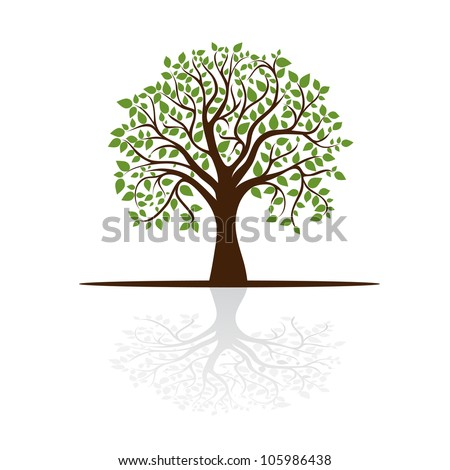 tree casts a shadow, a place for text, vector - stock vector