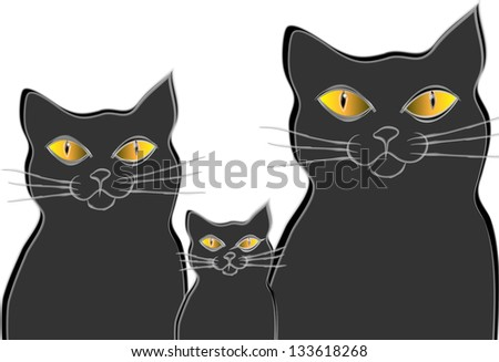 Tree cats. Cats family. Isolation over white background. - stock vector