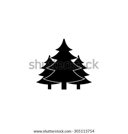 Tree, Christmas fir tree. Black simple vector icon - stock vector