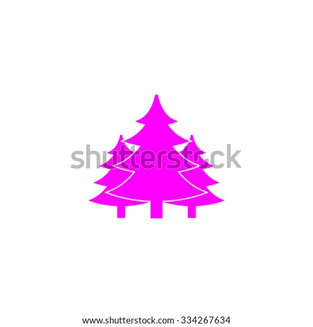 Tree, Christmas fir tree. Pink flat icon. Simple vector illustration pictogram on white background - stock vector