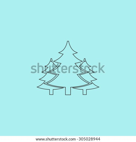 Tree, Christmas fir tree. Simple outline flat vector icon isolated on blue background - stock vector