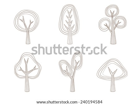 Tree collection design,vector illustration