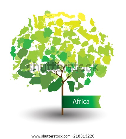 Tree design. Countries in Africa.  World  Map vector Illustration. - stock vector