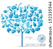 Tree design. Countries in Europe. flag. World Map vector Illustration. - stock photo