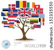 Tree design. Countries in Europe. flag. World. Map vector Illustration. - stock vector
