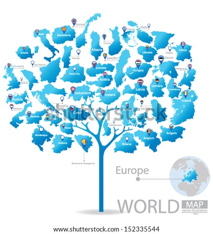 Tree design. Countries in Europe. flag. World Map vector Illustration. - stock vector