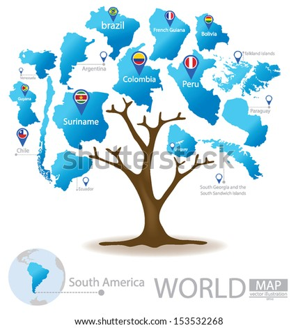 Tree design. Countries in South america. World. Map vector Illustration. - stock vector