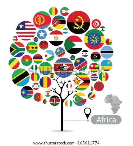 Tree design. Flag of Africa. vector Illustration. - stock vector