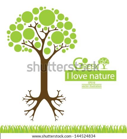 Tree design. Go green. Save world. vector illustration. - stock vector