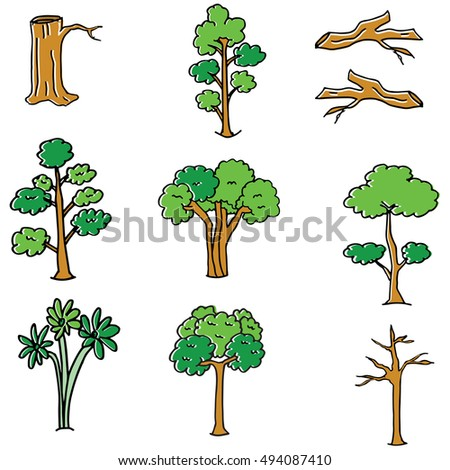 Tree different set of doodle collectio stock vector