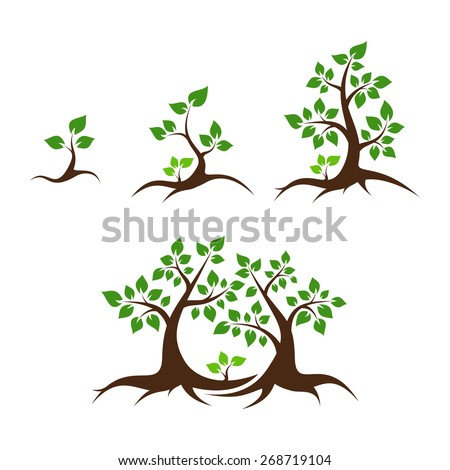 Tree family vector illustration - orphan child, single parent, mother, father and child - stock vector