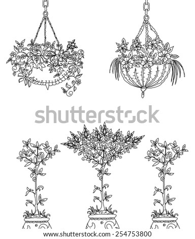 Tree, flowers  and floral design elements, Sketch set - stock vector