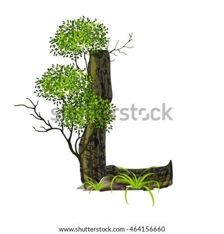 Tree font on White background. Vector font wood style.Vector trees in silhouettes. Create many more trees with leaves and bare trees on the bottom,Set of abstract trees,Green Oak